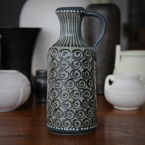 East German Pitcher by Veb Lausitz with Hand-Drawn Spirals, Dots and Lines (LEO Design)