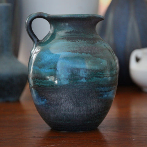 "Steuler West German Ceramic Pitcher with ""Planetary"" Glazing of Aquas and Gunmetal (LEO Design)"