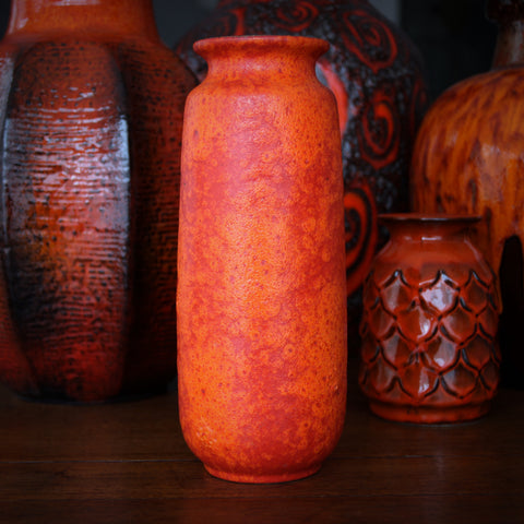 Scheurich Rounded Cylindrical Vase with Two-Tone Matte Orange Glazing (LEO Design)