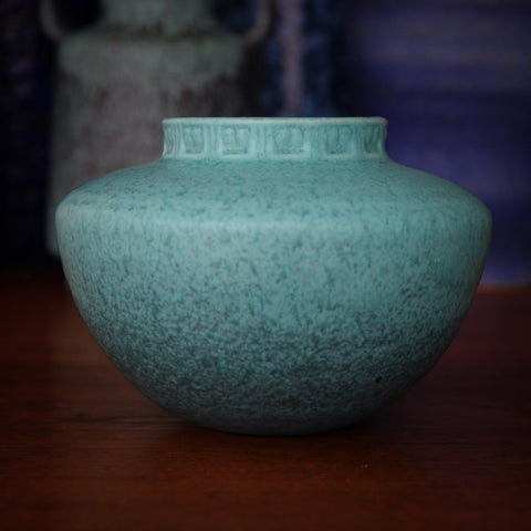 "Roseville Navajo-Inspired Ceramic Pot with Mottled Turquoise ""Tourmaline"" Glaze (LEO Design)"
