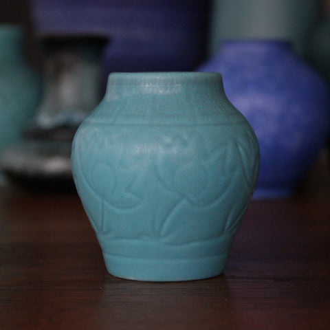 Rookwood Arts & Crafts Turquoise Vase with Incised Tulip Pattern (LEO Design)
