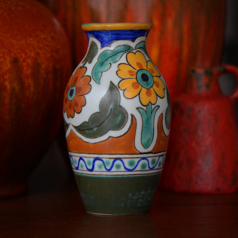 Gouda Dutch Hand-Painted Vase with Yellow & Burnt Orange Glazing (LEO Design)