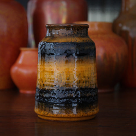 Carstens Tapered, Squat Cylindrical Vase with Brown and Marigold Glazing (LEO Design)