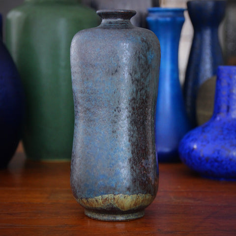 European Studio Stoneware Vase with Microcrystalline Blue and Gunmetal Glazing (LEO Design)