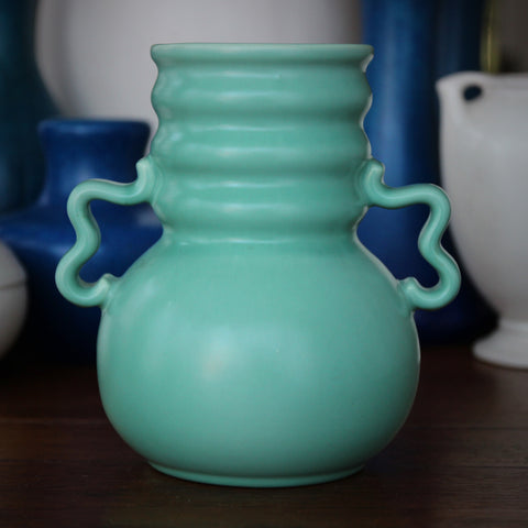 Stangl Art Deco Ceramic Vase with Ribbed Throat, Ribbon Handles and Mint Green Glazing (LEO Design)