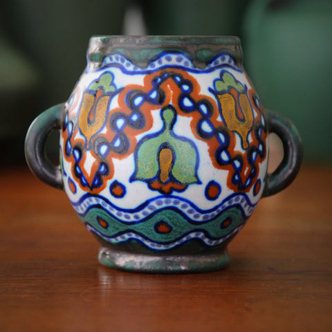 Gouda Dutch Two-Handled Vase with Hand-Painted Decor (LEO Design)