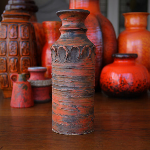 European Modernist Vase with Burnt Orange Glaze and Impasto Treatment (LEO Design)