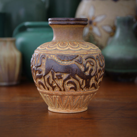 Michael Andersen Danish Art Deco Vase with Bas Relief Deer (LEO Design)