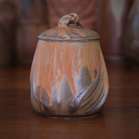 Denbac French Art Nouveau Covered Pot with Caramel, Brown and Gold Dust Glazes (LEO Design)