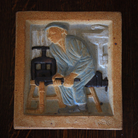 Danish Plumber Stoneware Plaque by Karl Otto Johansen for Bing & Grondahl (LEO Design)
