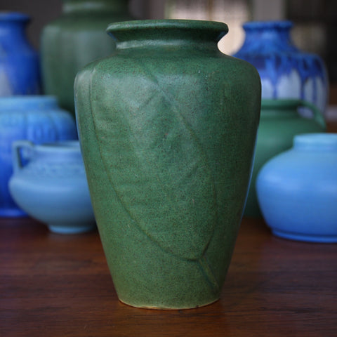 "Zanesville Arts & Crafts ""Tobacco Leaf"" Vase with Deep Matte Green Glazing (LEO Design)"