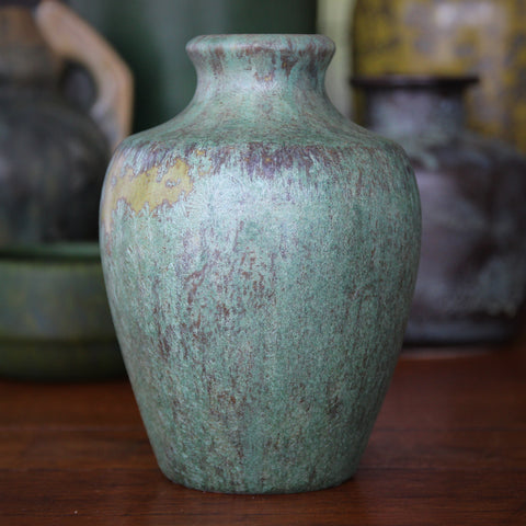 Pierrefonds French Art Nouveau Classic Vase with Heavy Crystalized Green Glaze (LEO Design)
