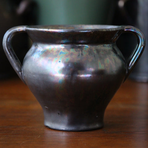 Dickerware English Arts & Crafts Classic Two-Handled Pot with Iridescent Gunmetal Glaze (LEO Design)