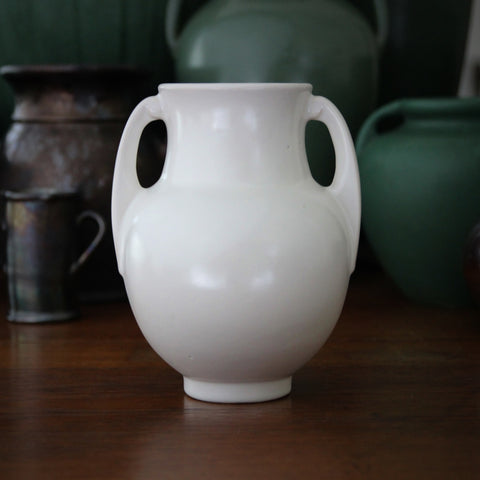 Classic Matte White Two-Handled Urn by Roseville, Ohio (LEO Design)