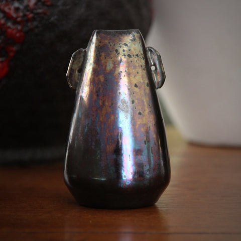 Dickerware English Arts & Crafts Conical Vase with Iridescent Gunmetal Glazing (LEO Design)