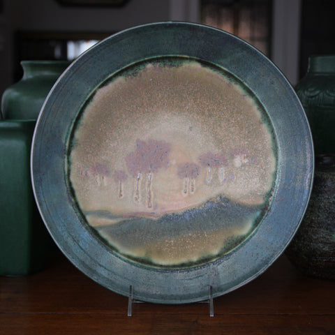 Arts & Crafts Style Stoneware Plate with Arbored Landscape and Crystalline Green Glazing (LEO Design)