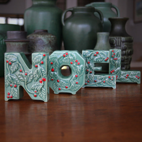 Ceramic NOEL Candle/Sprig Holders with Scrolling Holly and Celadon and Red Glazing (LEO Design)