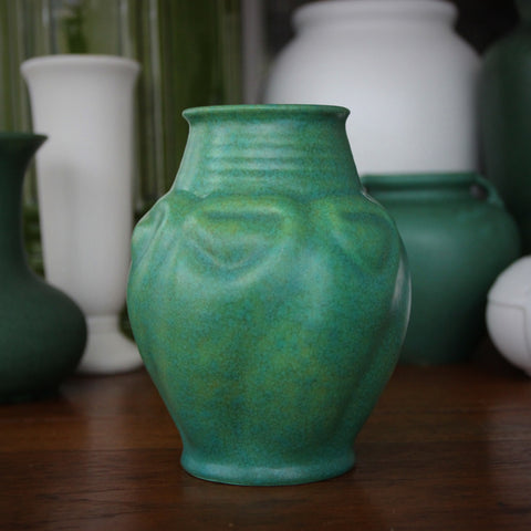 English Art Deco Vase with Dappled Green and Blue Glazes by Pilkington Royal Lancastrian (LEO Design)
