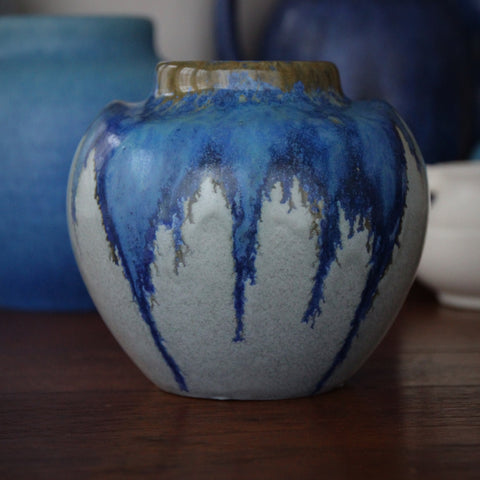 Pierrefonds French Art Nouveau Squat-Form Vase with Dripping Blue Glazes (LEO Design)