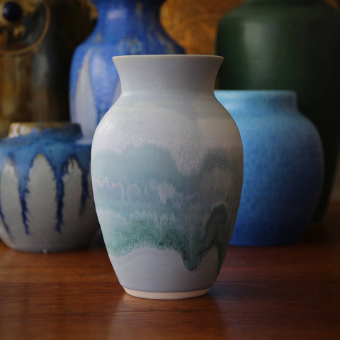 """Hand-Thrown Studio Vase with Dripping Blue and Green Glazing, signed """"Robinson"""" (LEO Design)"""