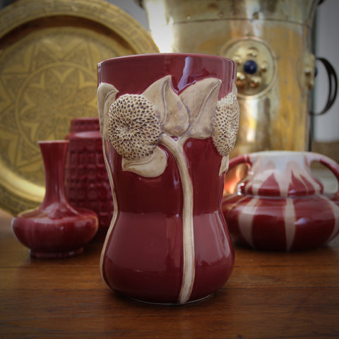 Art Nouveau (Art Deco) Oxblood Corseted Vase with Terra-Cotta Sunflower Bas Relief (LEO Design)