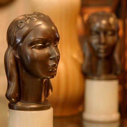"Spelter Art Deco ""Woman's Head"" Bookends in the Manner of Paul Manship  (LEO Design)"