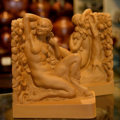 "French Art Deco ""Satyress"" Terra-Cotta Bookends by J. Descamps for Louis Lourioux (LEO Design)"