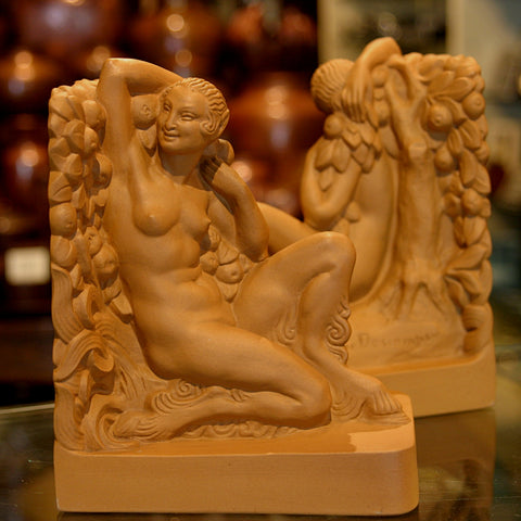 "French Art Deco Terra-cotta ""Satyress"" Bookends by Louis Lourioux (LEO Design)"