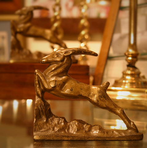 Cast Iron Art Deco Leaping Gazelle Bookends with Golden Finish (LEO Design)
