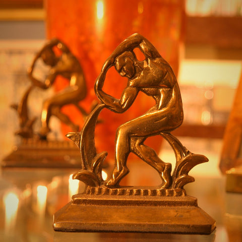 "Art Deco Cast Iron ""Dancing Man"" Bookends (LEO Design)"