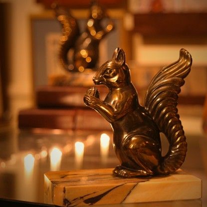 French Art Deco Squirrel Bookends (LEO Design)