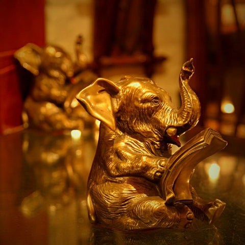 "Cast Spelter ""Reading Elephants"" Bookends (LEO Design)"