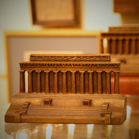 Heavy Cast Iron Lincoln Memorial Bookends with Golden Finish (LEO Design)