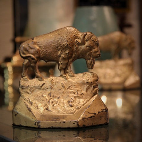 "Cast Iron ""Bison on the Range"" Bookends (LEO Design)"