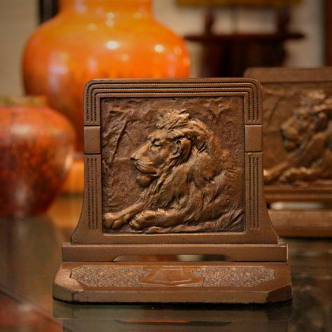 Regal Lion Bas Relief Bookends (LEO Design)