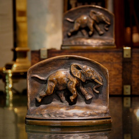"Bronze ""Trotting Elephant"" Bookends (LEO Design)"