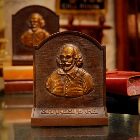 Heavy Cast-Iron Bookends with Bust of William Shakespeare by Bradley & Hubbard (LEO Design)