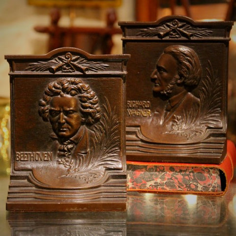 German Musical Genius Bookends: Beethoven and Wagner (LEO Design)