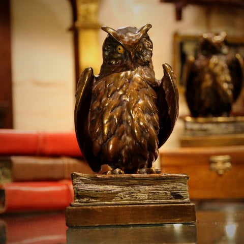 Bronze-Clad and Polychromed Wise Owl Bookends (LEO Design)