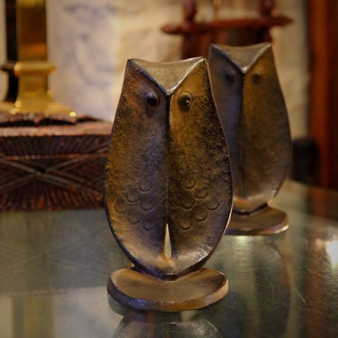 Japanese Cast Iron Modern Owl Bookends (LEO Design)