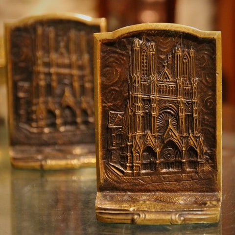 Finely-Cast Bronze Bookends of Reims Cathedral (LEO Design)