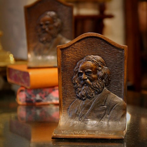 Bronze Bookends of Henry Wadsworth Longfellow (LEO Design)
