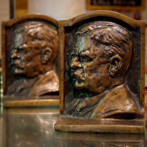 Heavy Bronze Bookends of Teddy Roosevelt in Profile (LEO Design)