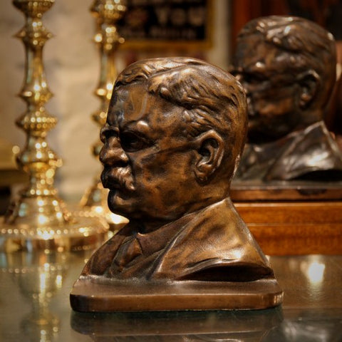 Heavy Cast Iron Bookends of President Teddy Roosevelt (LEO Design)