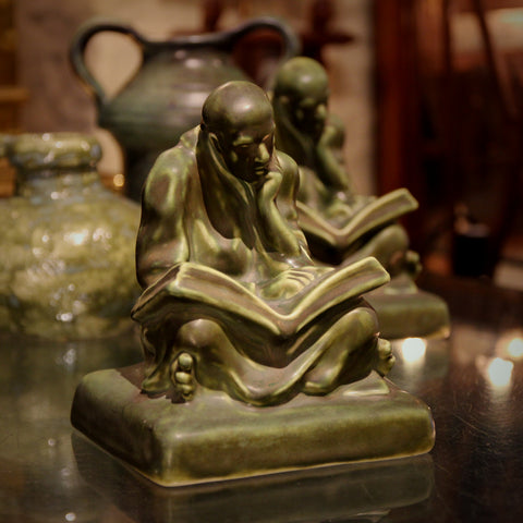 "Cowan Arts & Crafts Matte Green Ceramic ""Scholar Monk"" Bookends (LEO Design)"