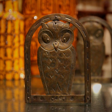 Austrian Secessionist Hand-Hammered Steel Owl Bookends (LEO Design)