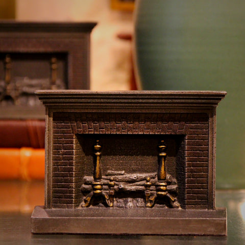 "Cast Iron ""Home Fires"" Fireplace Bookends by Bradley & Hubbard (LEO Design)"