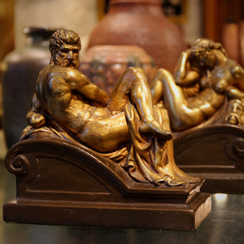 """Bronze-Clad Bookends After Michelangelo's """"Night & Day"""" Sculptures for Medici Tomb, Florence (LEO Design)"""