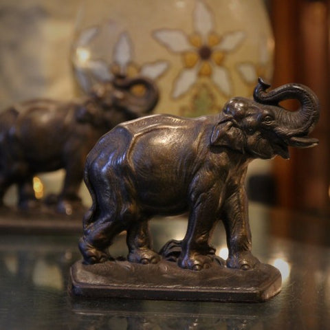 Cast Iron Trumpeting Elephant Bookends (LEO Design)