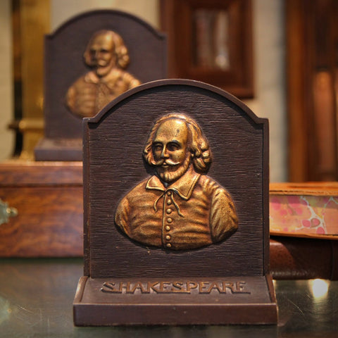 Heavy Cast Iron Shakespeare Bookends by Bradley & Hubbard (LEO Design)